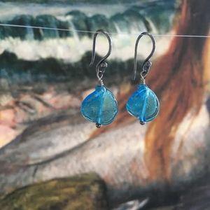 """117: """"Wave"""" Twisted Venetian Glass Earrings"""